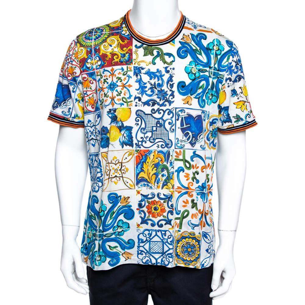 Dolce & Gabbana Multicolor Majolica Print Cotton T-Shirt 4XL