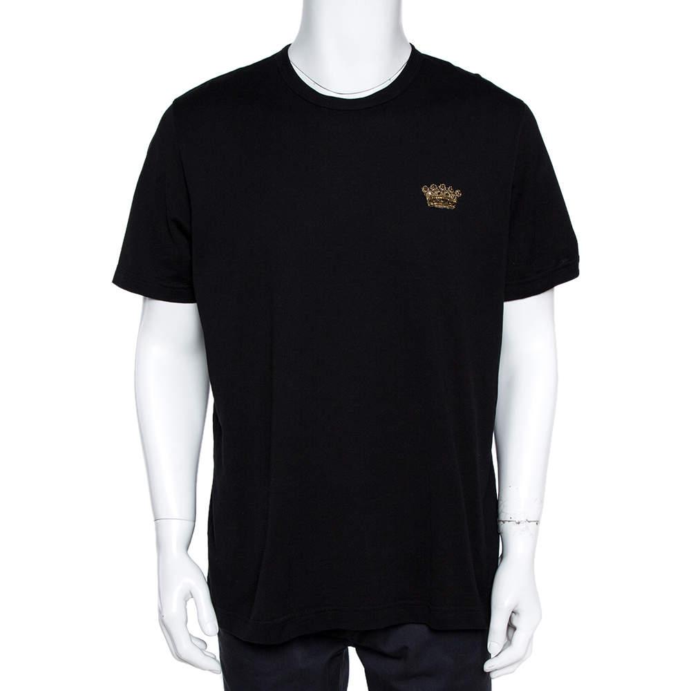 Dolce & Gabbana Black Cotton Crown Embellished T- Shirt 4XL