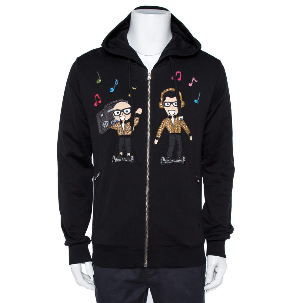 Dolce & Gabbana Black DG Family Patchwork Hooded Sweatshirt L
