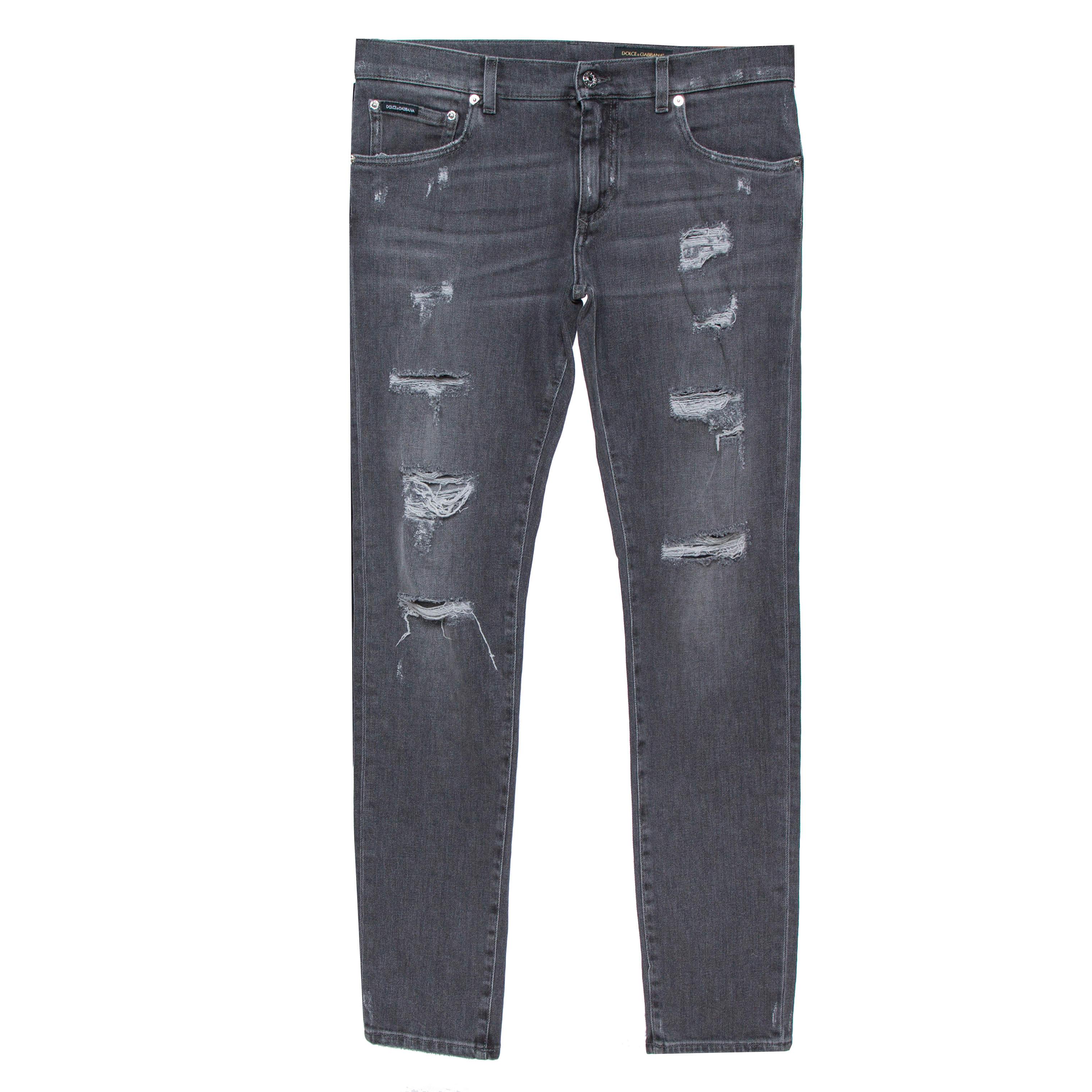 Dolce & Gabbana Grey Distressed Denim Skinny Jeans M