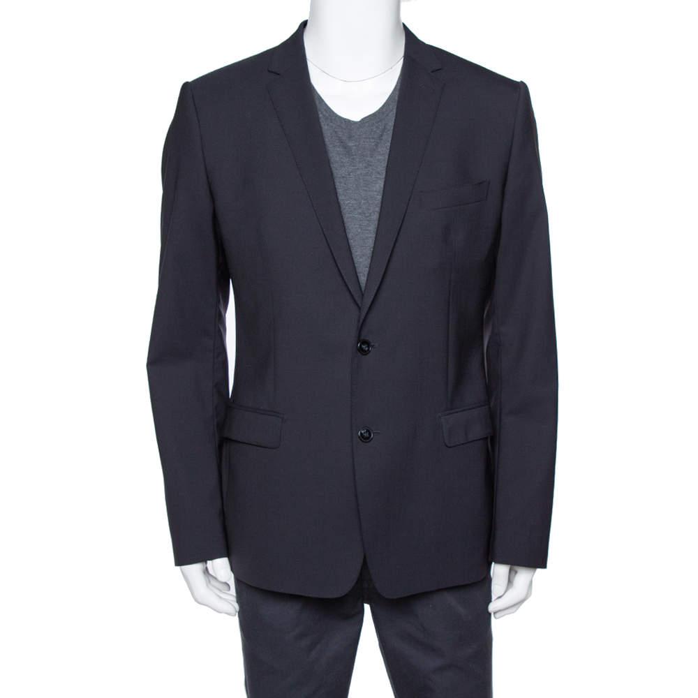 Dolce & Gabbana Navy Blue Wool Martini Tailored Jacket XL