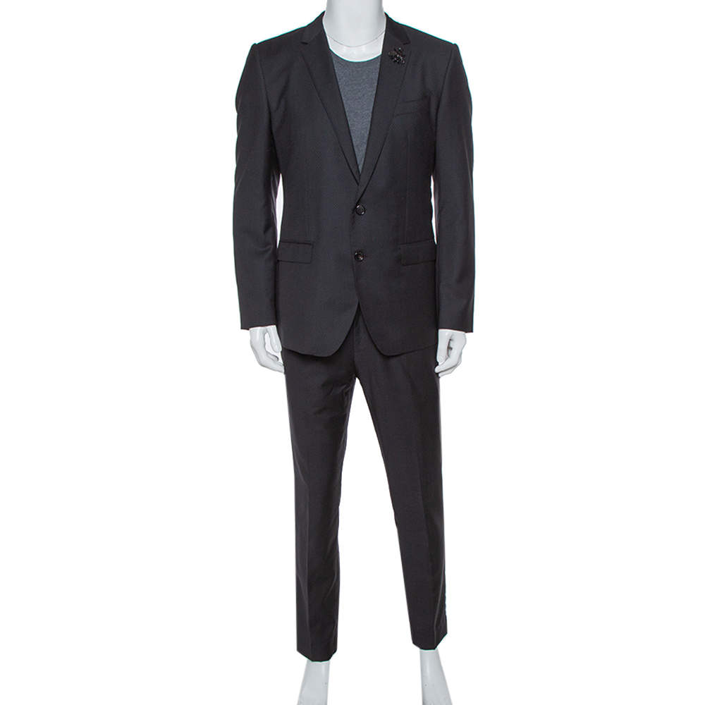 Dolce & Gabbana Black Wool Martini Tailored Suit L