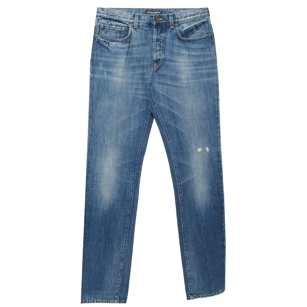 Dolce & Gabbana Blue Distressed Denim Straight Leg Jeans M