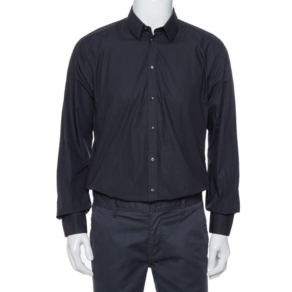Dolce & Gabbana Black Cotton Long Sleeve Martini Shirt XL
