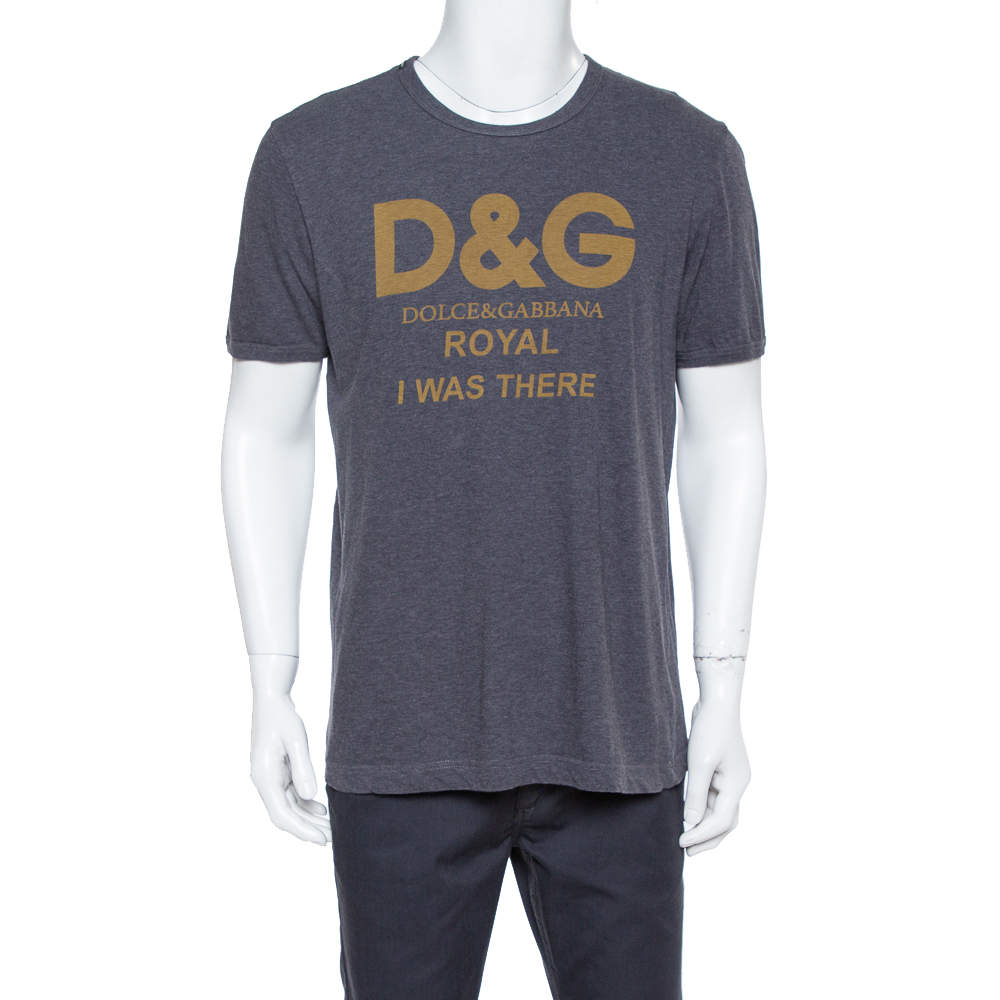 Dolce & Gabbana Grey Cotton Royal Print T Shirt L