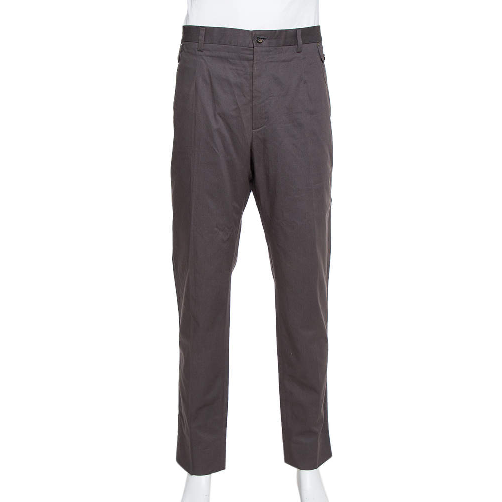 Dolce & Gabbana Grey Coated Cotton Classic Trousers 4XL