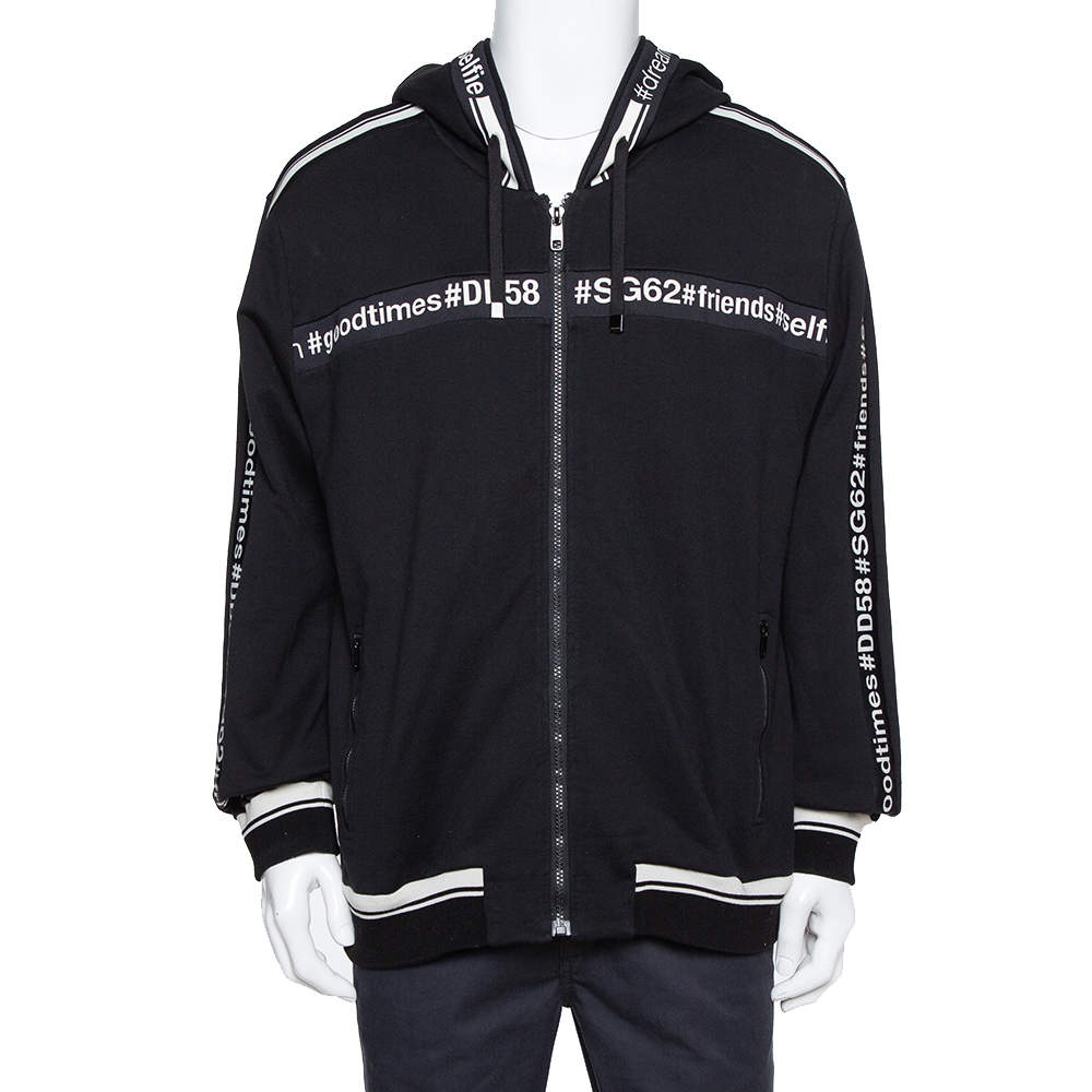 Dolce & Gabbana Black Knit Good Times Trim Detail Hooded Sweatshirt XL