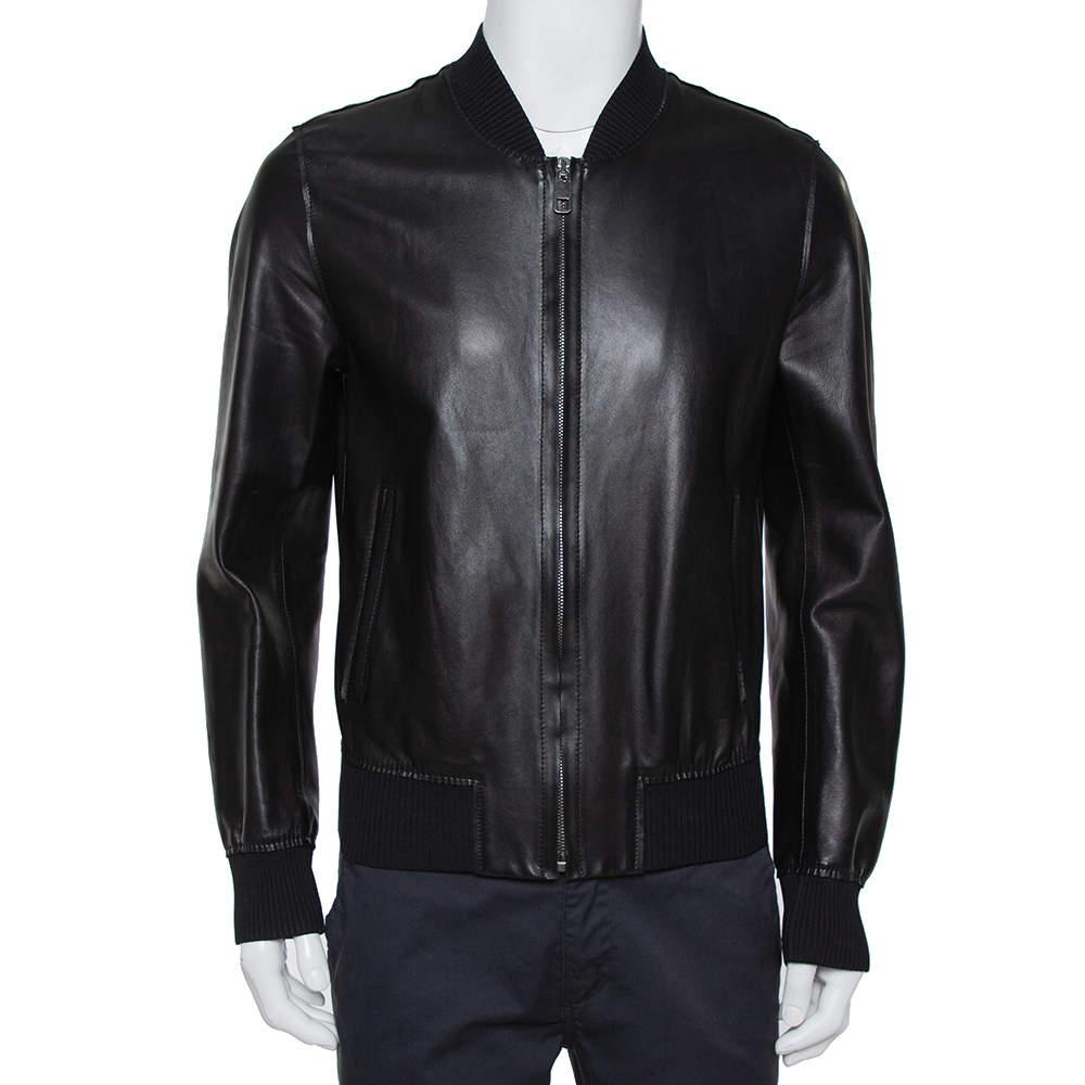 Dolce & Gabbana Black Leather Zipper Front Jacket L