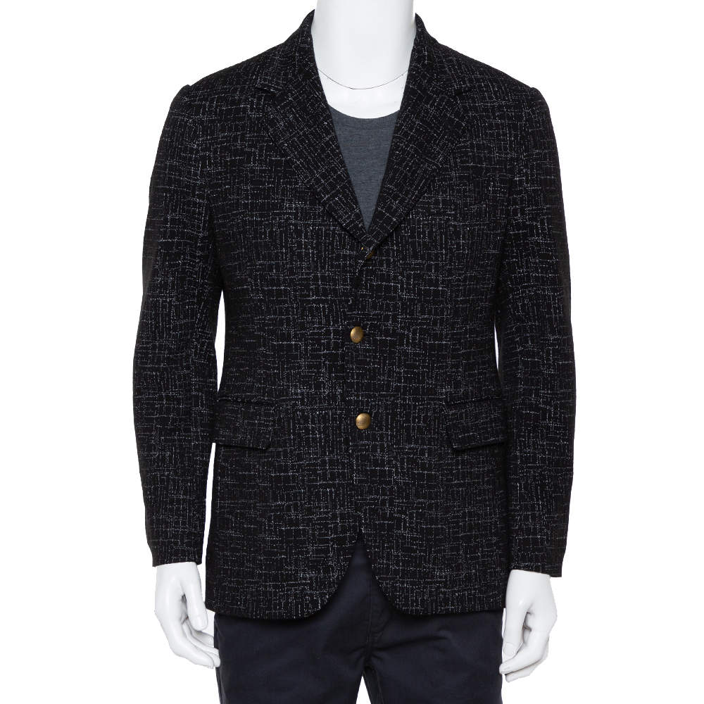 Dolce & Gabbana Black Abstract Printed Wool Button Front Tailored Blazer L