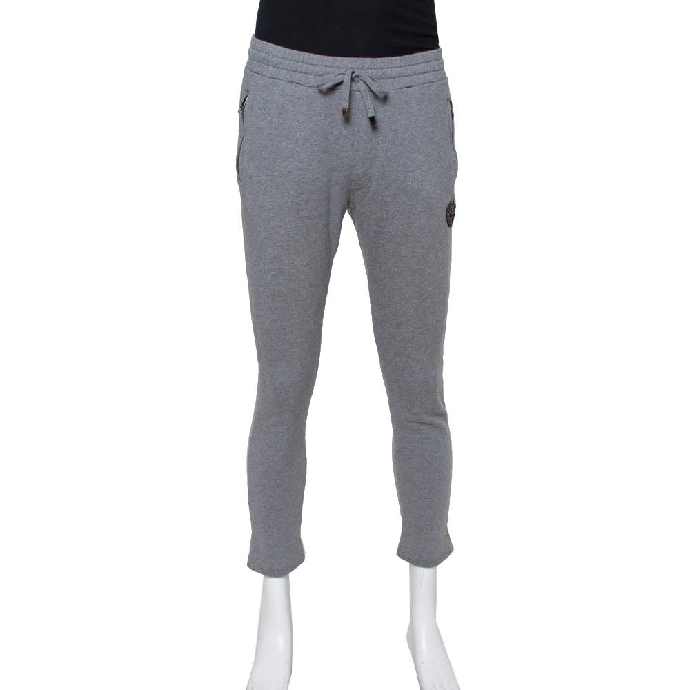 Dolce & Gabbana Grey Cotton Logo Embellished Track Pants M