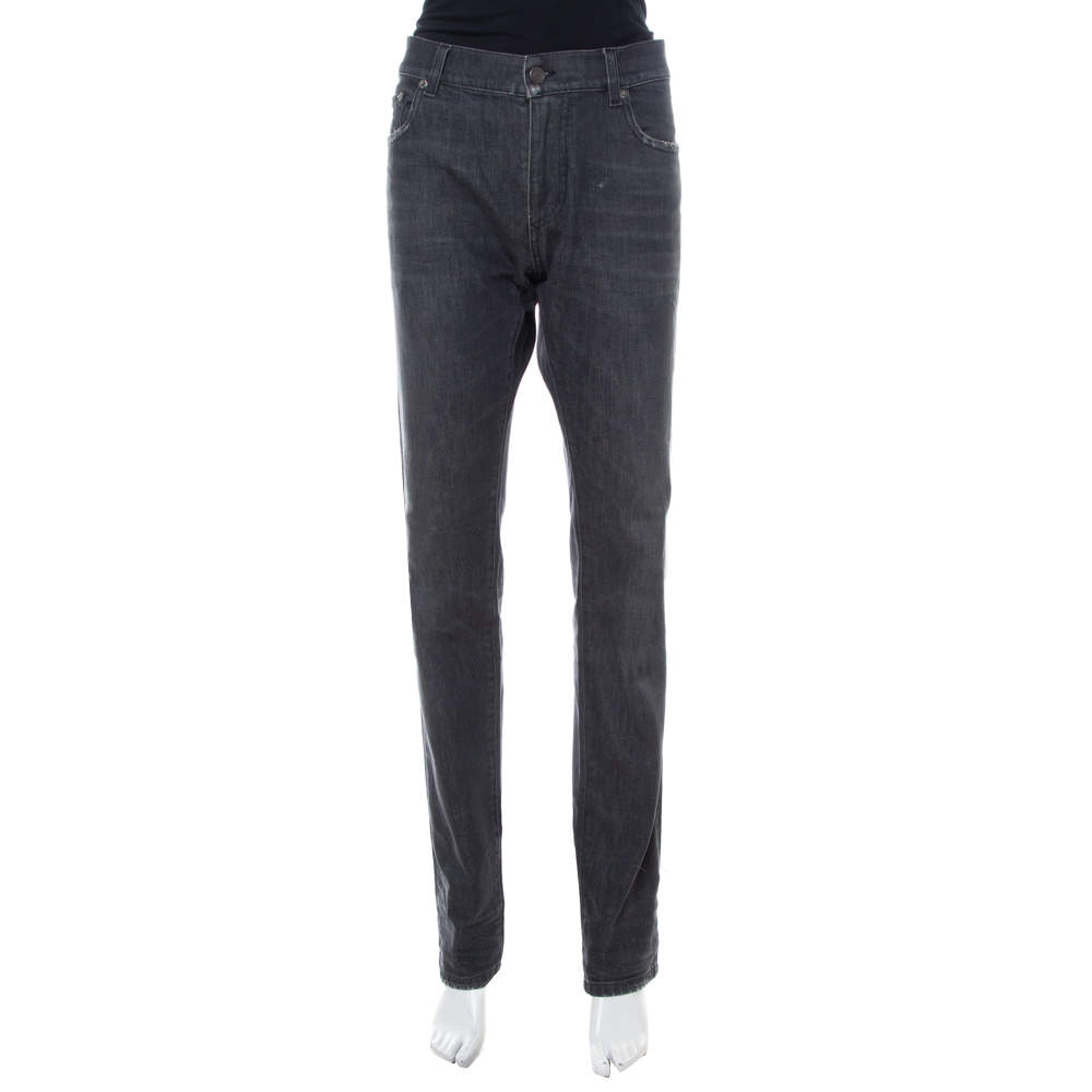 Dolce & Gabbana Black Denim Distressed Straight Leg Jeans XL