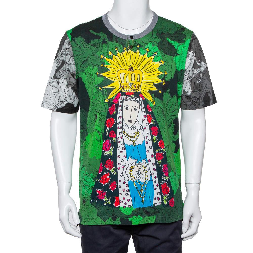 Dolce & Gabbana Green Virgin Mary Graffiti Printed Cotton Crewneck Button Front T-Shirt 3XL