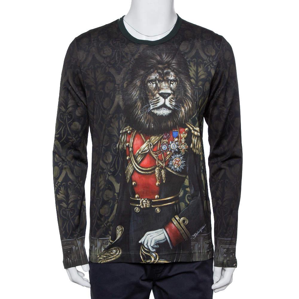 Dolce & Gabbana Black Heraldic Sicilia Printed Cotton Long Sleeve Crewneck T-Shirt M