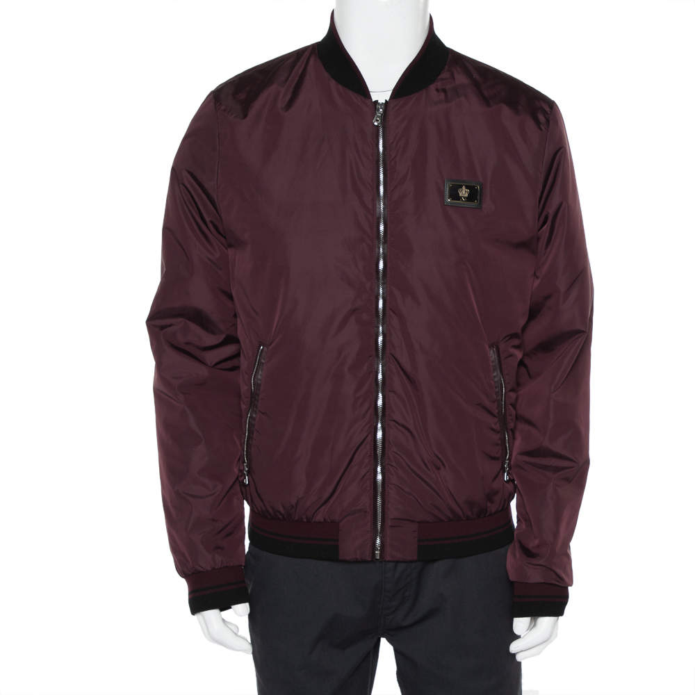 Dolce & Gabbana Burgundy Synthetic Zipper Front Bomber Jacket XL