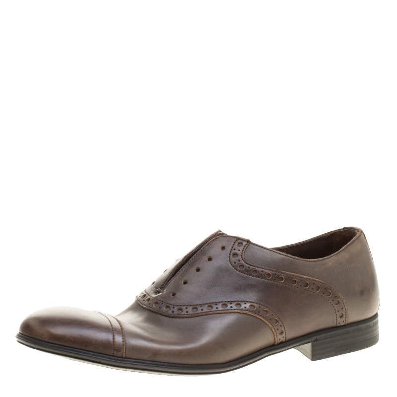 Dolce & Gabbana Brown Antique Finish Brogue Leather Oxfords Size 39.5