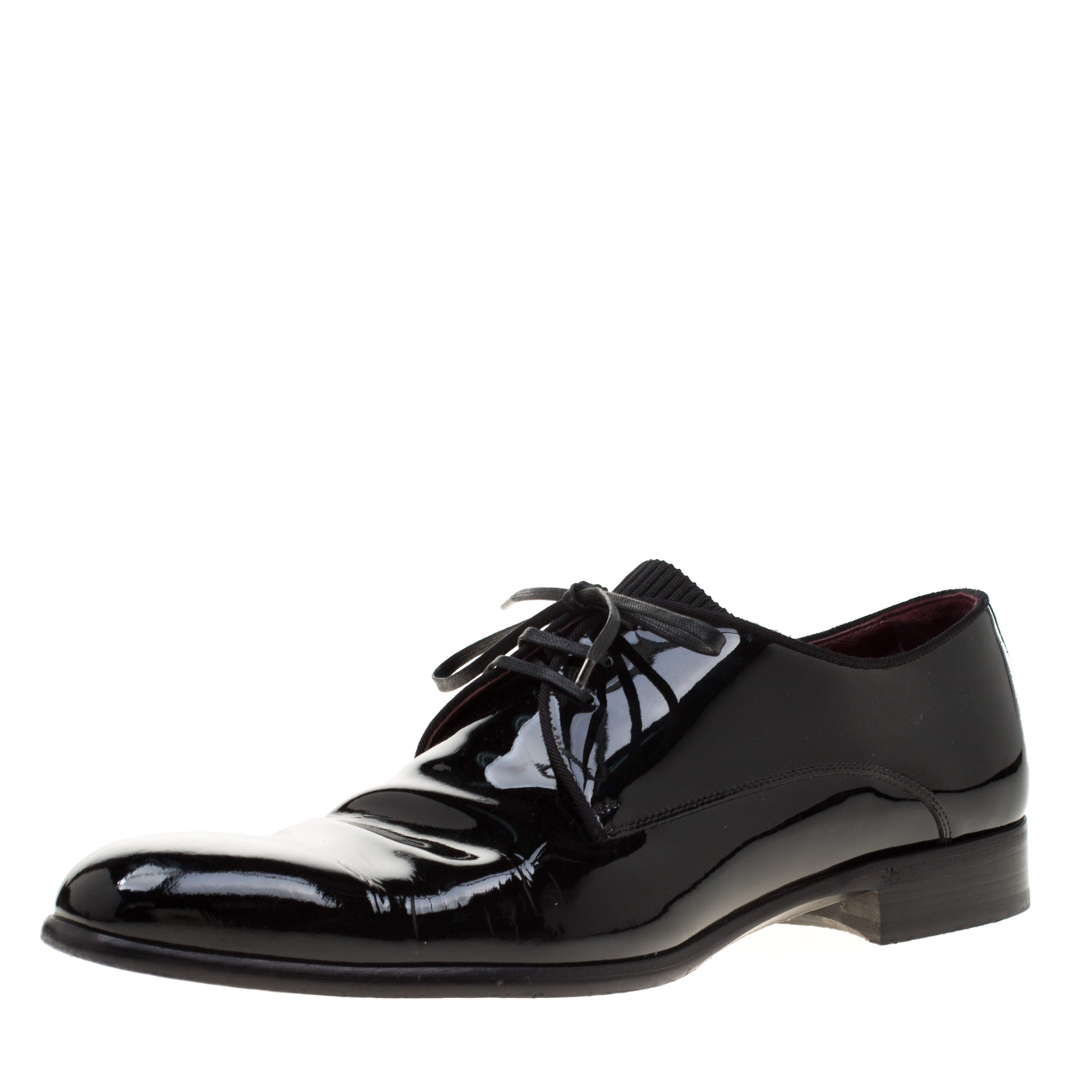 Dolce & Gabbana Black Patent Leather Derby Oxford Shoes Size 43