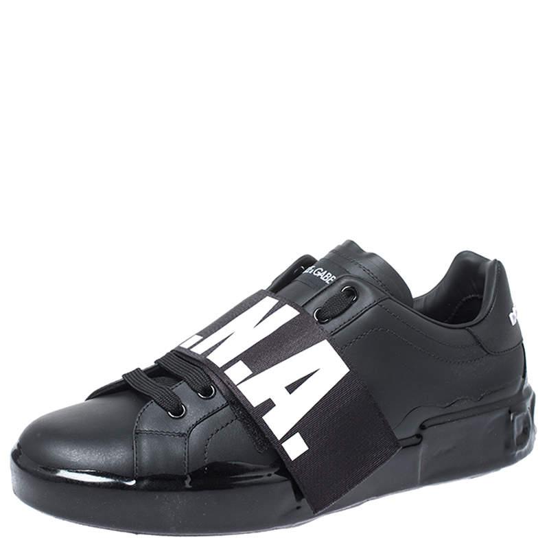 Dolce & Gabbana Black Leather Portofino Low Top Sneakers Size 43