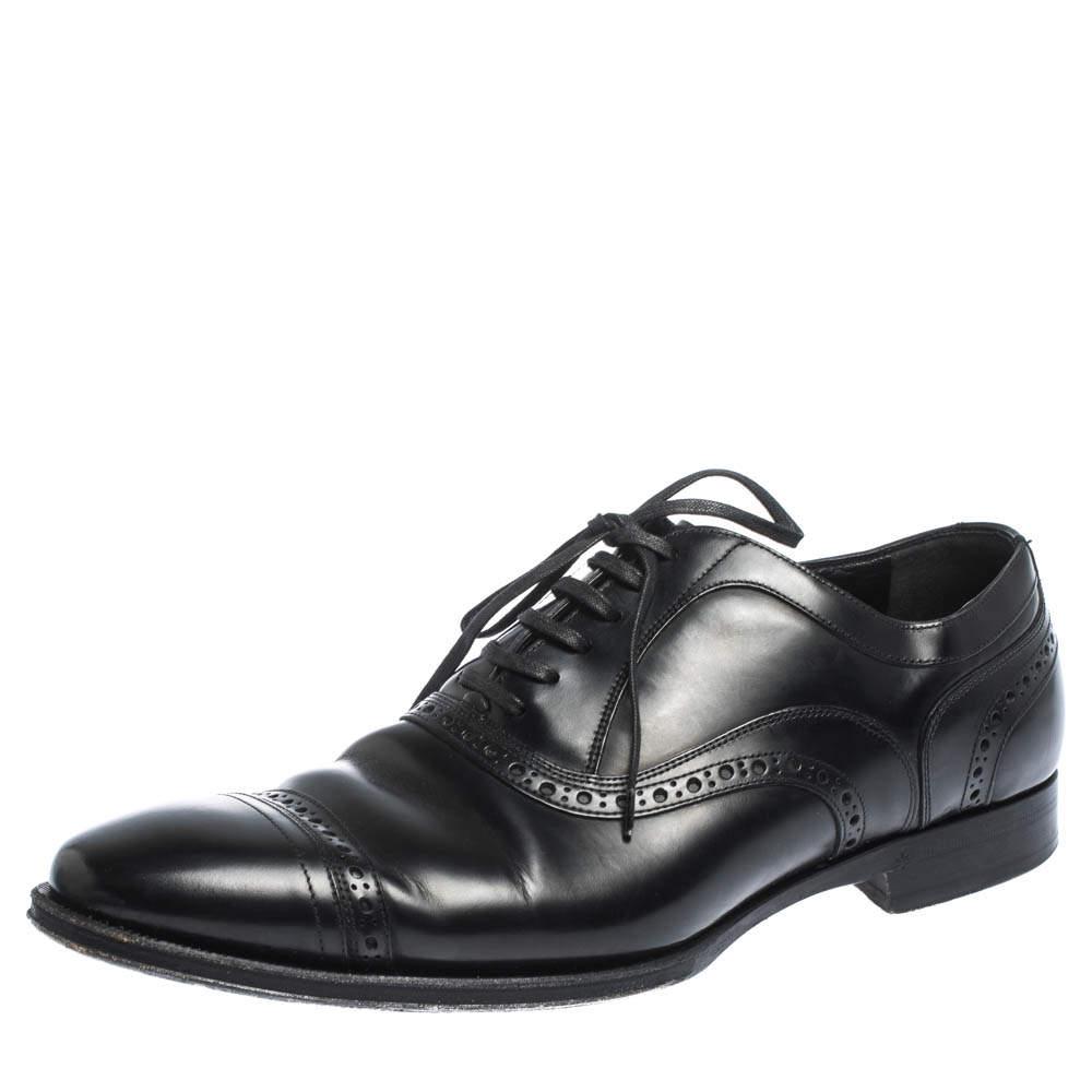حذاء أكسفورد دولتشي أند غابانا أربطة سويدي وجلد بروغي أسود مقاس 40.5
