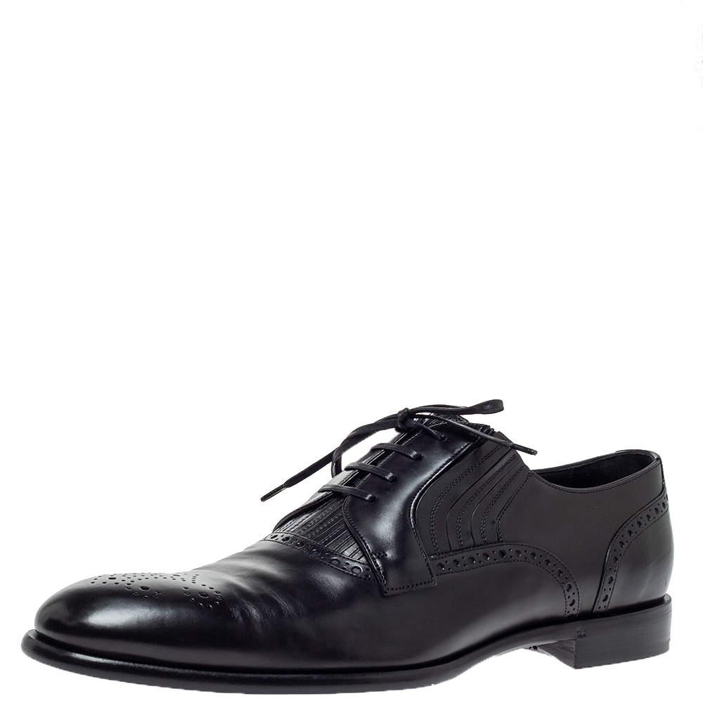 Dolce & Gabbana Black Leather Brogue Detail Derby Size 45