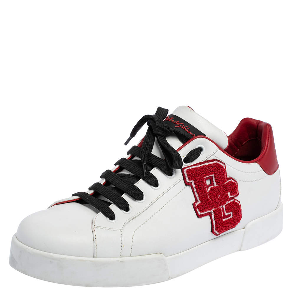 Dolce & Gabbana White Leather Portofino Low Top Sneakers Size 44