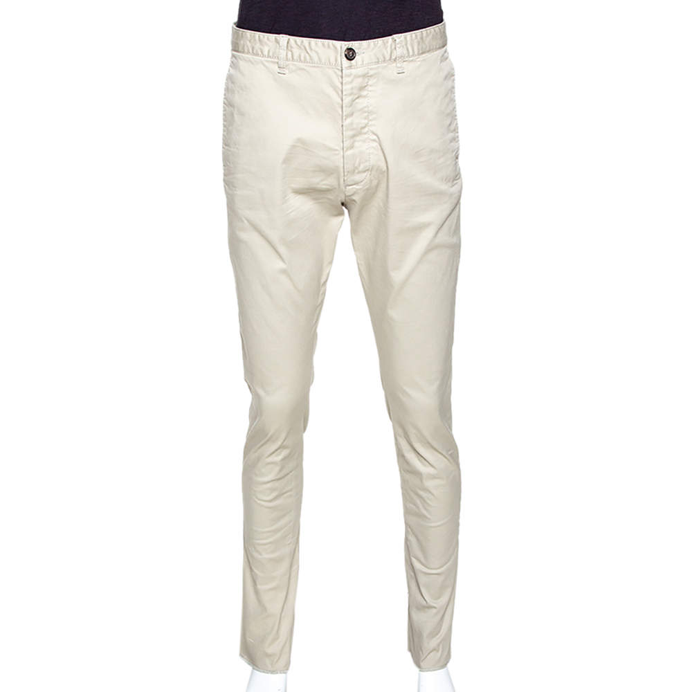 Dsquared2 Beige Stretch Cotton Gabardine Chino Trousers L