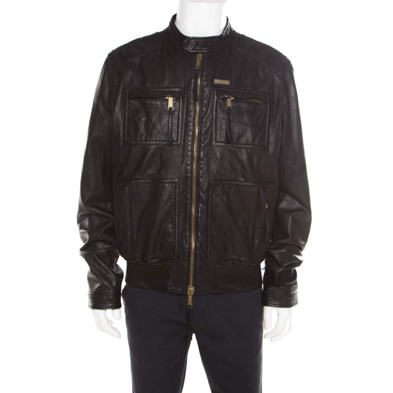 Dsquared2 Black Goat Leather Zip Front Biker Jacket 3XL