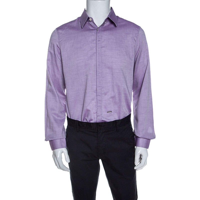 Dsquared2 Purple Chambray Cotton Button Front Shirt XL