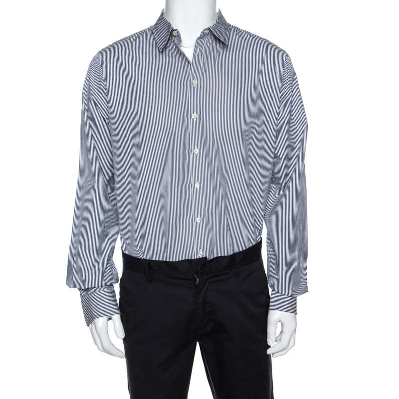 Dsquared2 White Striped Cotton Button Front Shirt 3XL