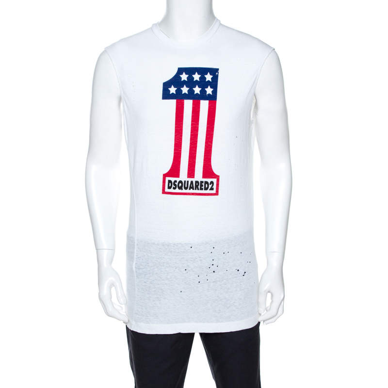 Dsquared2 White Printed Cotton Distressed Long Cool Twisted T-Shirt M