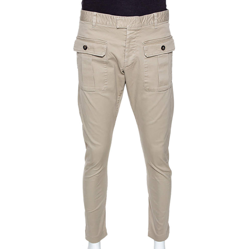 Dsquared2 Beige Stretch Cotton Cropped Cargo Trousers XXL