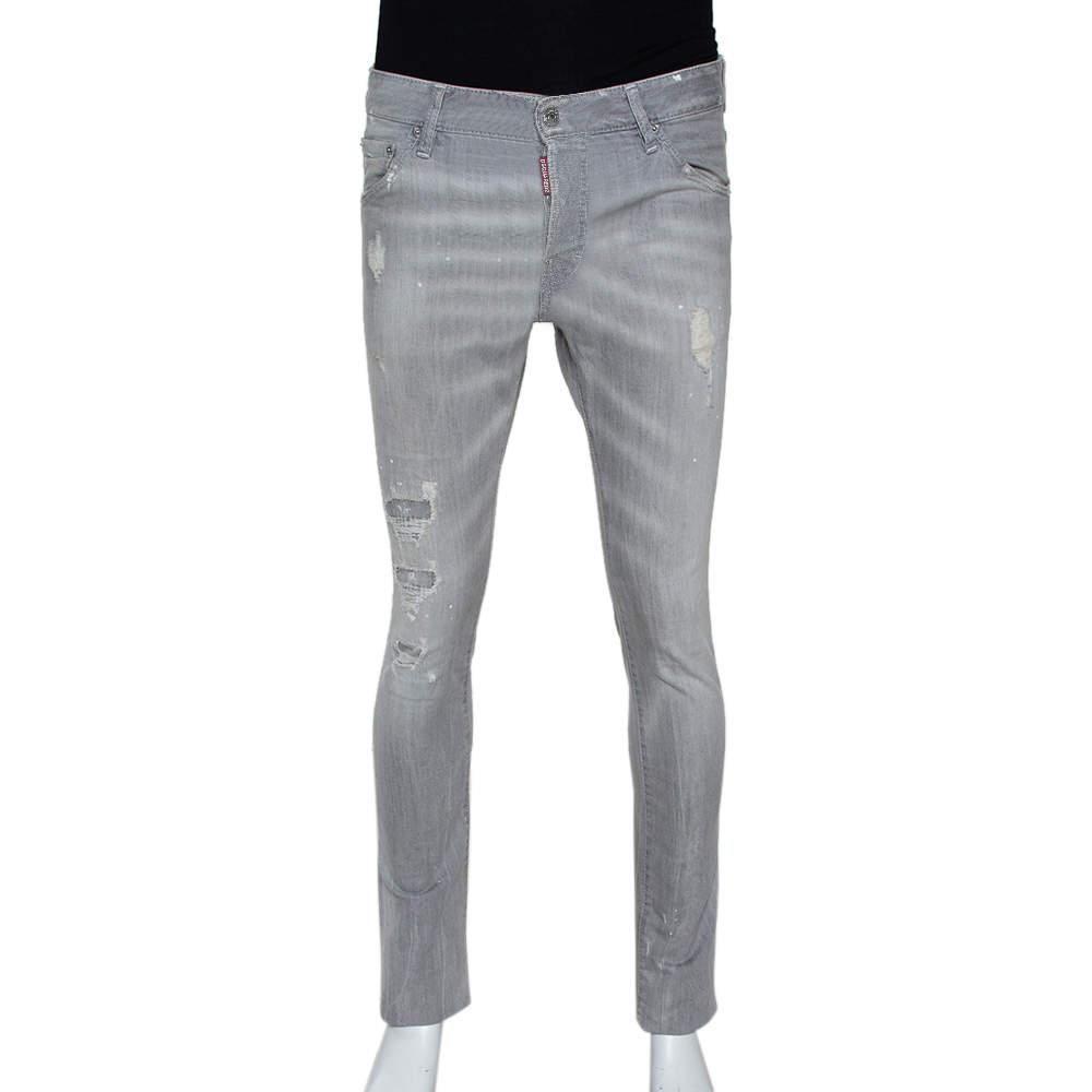 Dsquared2 Grey Distressed Denim Paint Splatter Effect Cool Guy Jeans S