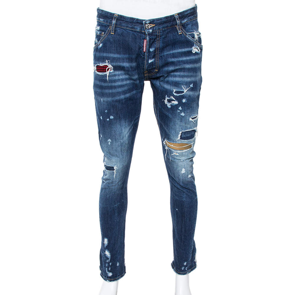 Dsquared2 Blue Distressed Denim Patched Classic Kenny Twist Jeans M