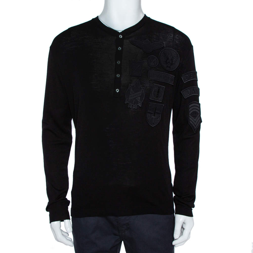 Dsquared2 Black Wool Knit Badge Detailed Henley T-Shirt M