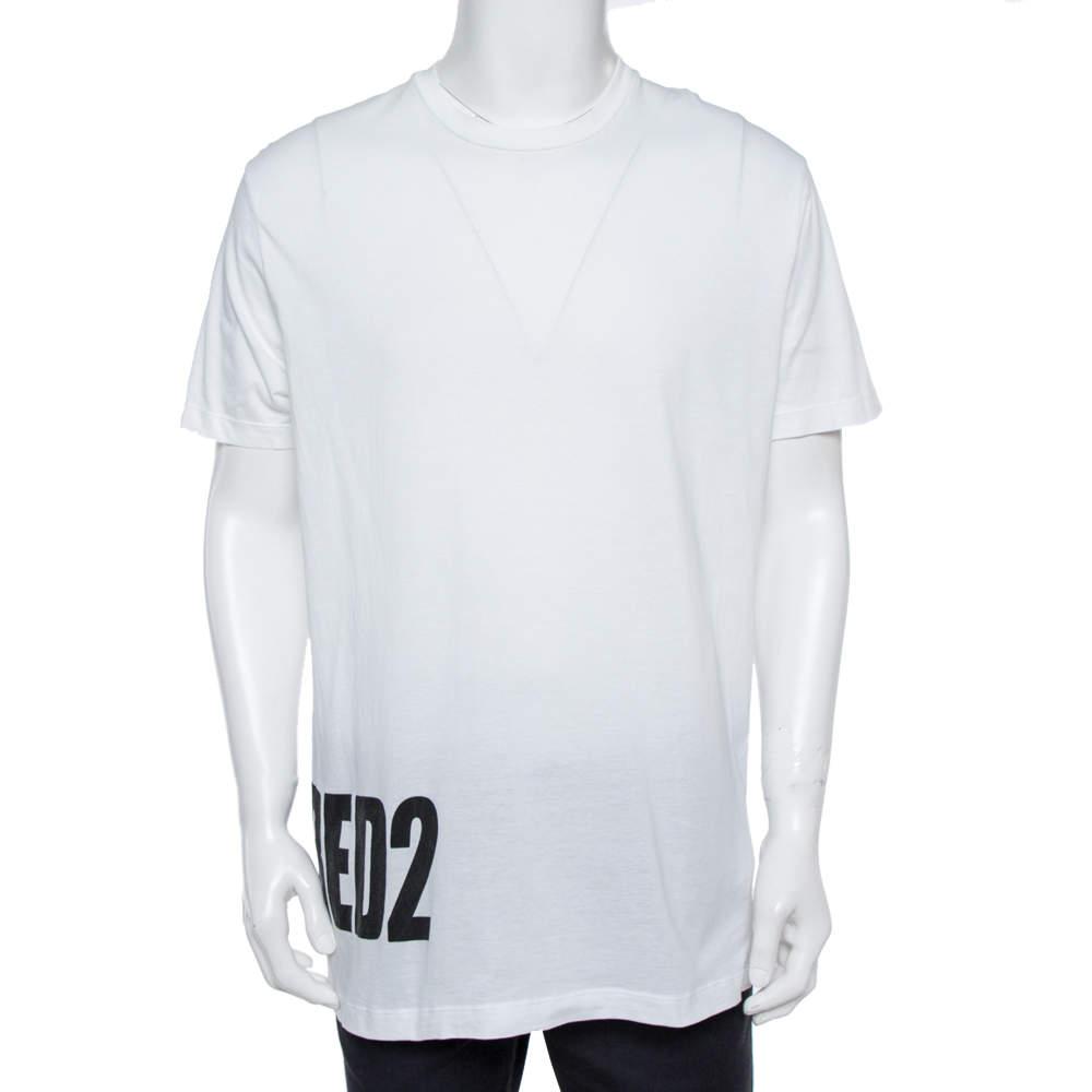 Dsquared2 White Logo Print Cotton Long Cool Fit T-Shirt XXL