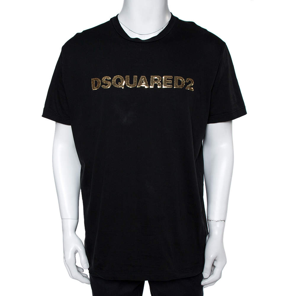 Dsquared2 Black Cotton Logo Sequinned Long Cool Fit T-Shirt XXL