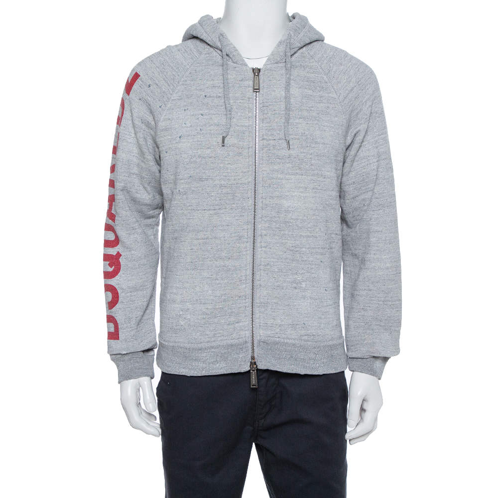 Dsquared2 Grey Cotton Logo Printed Distressed Hoodie Sweatshirt S