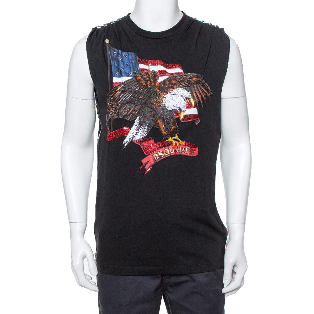 Dsquared2 Black Cotton Embellished Eagle Icon Sleeveless T Shirt L