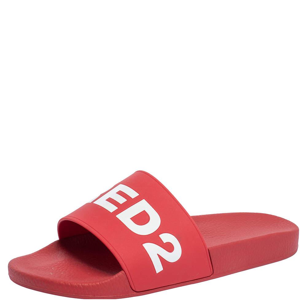 Dsquared2 Red Rubber Dune Logo Pool Slide Sandals Size 43