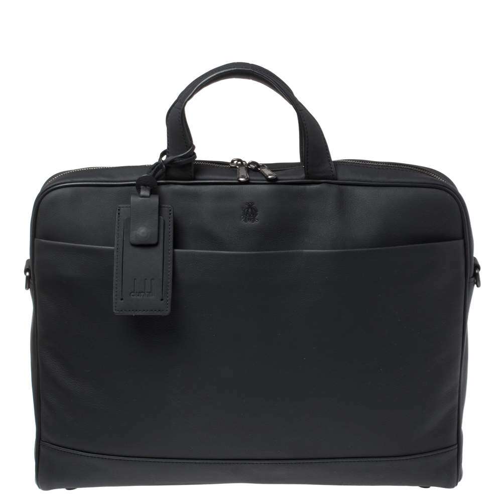 Dunhill Black Nubuck Leather Zip Briefcase Bag