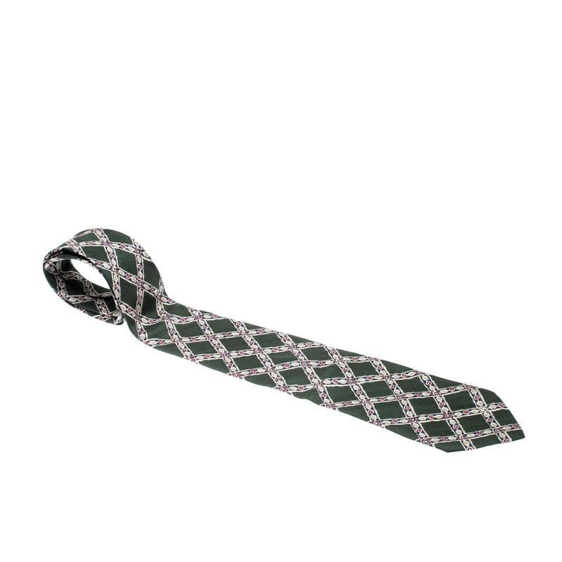 Dunhill Olive Green Argyle Pattern Silk Tie