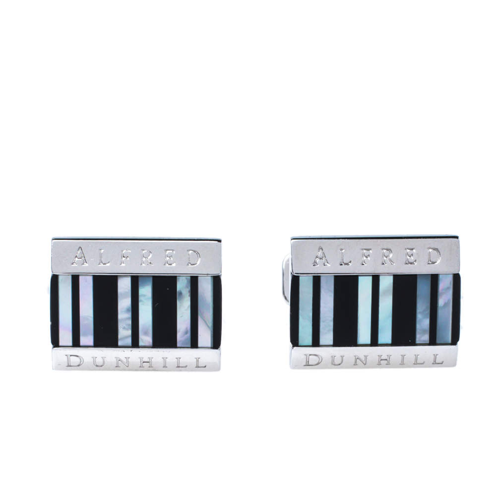 Dunhill Striped Mother of Pearl Inlay Sterling Silver Cufflinks
