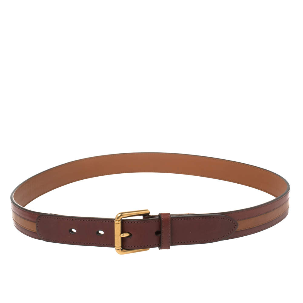 Dunhill Burgundy/Brown Stripe Leather Classic Belt 97CM
