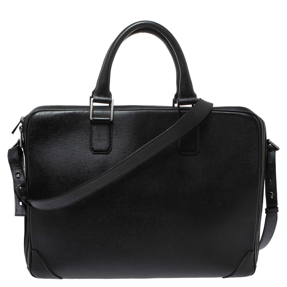 Dunhill Black Leather Single Document Briefcase