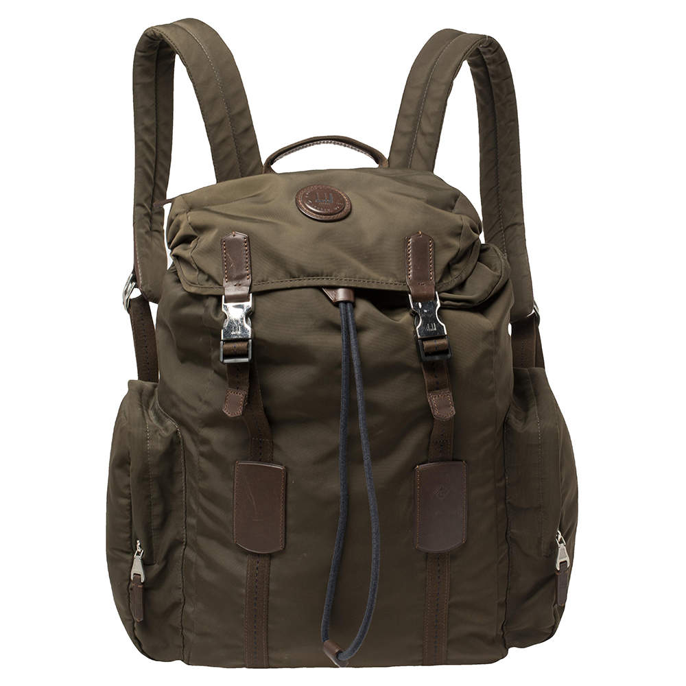 Dunhill Military Green Nylon Large Guardsman Backpack