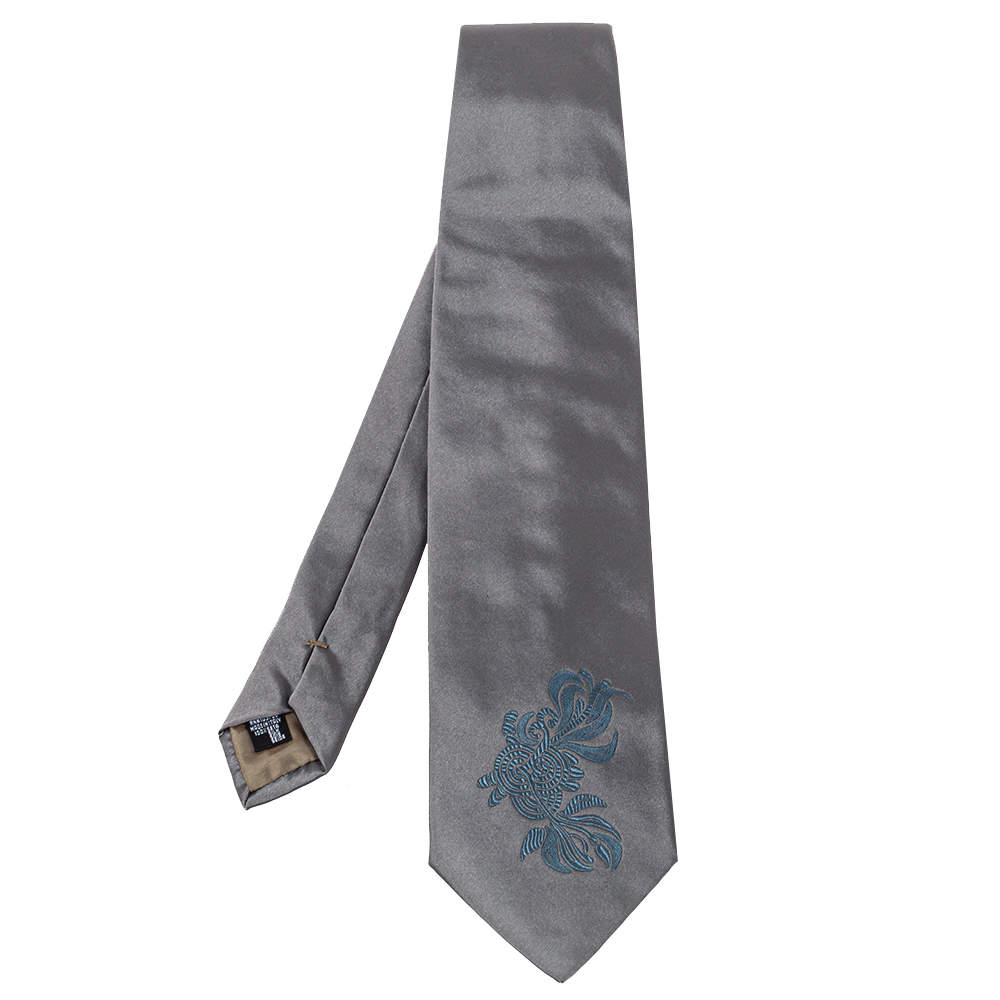 Emporio Armani Grey Floral Detail Silk Traditional Tie