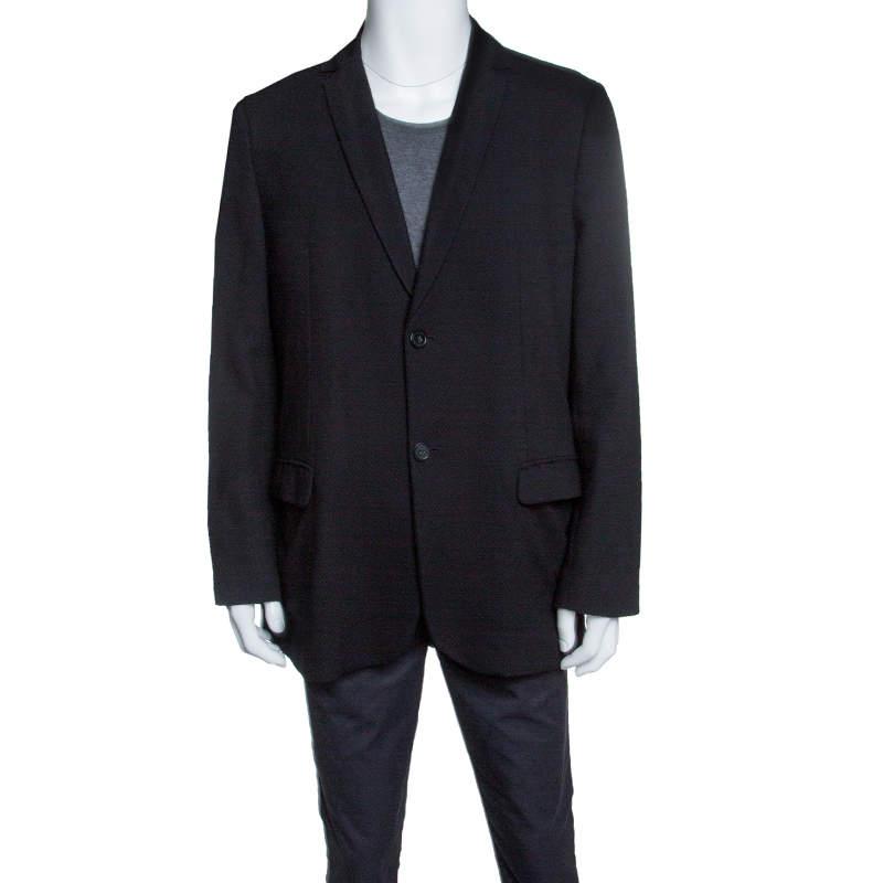 Emporio Armani Black Textured Wool Jacquard Two Button Blazer 4XL