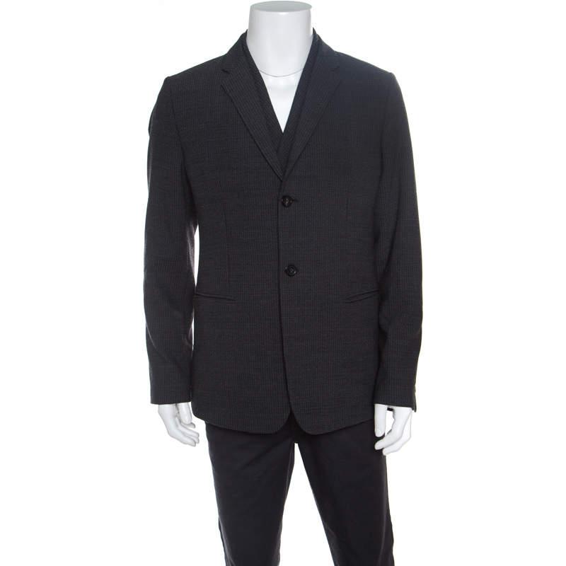 Emporio Armani Grey Textured Wool Double Lapel Blazer XXL