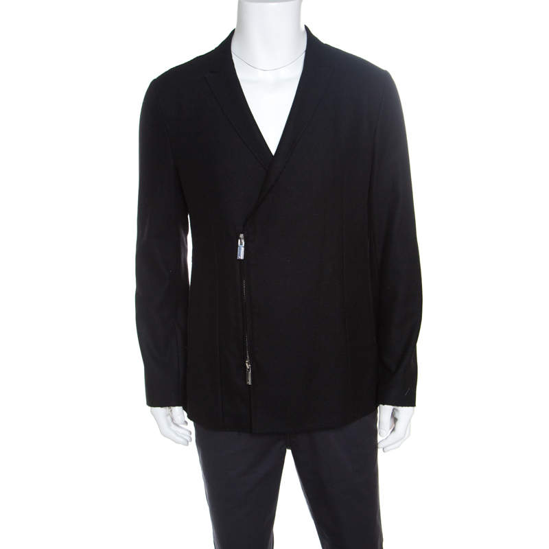 Emporio Armani Black Frayed Trim Wool Jacket XL