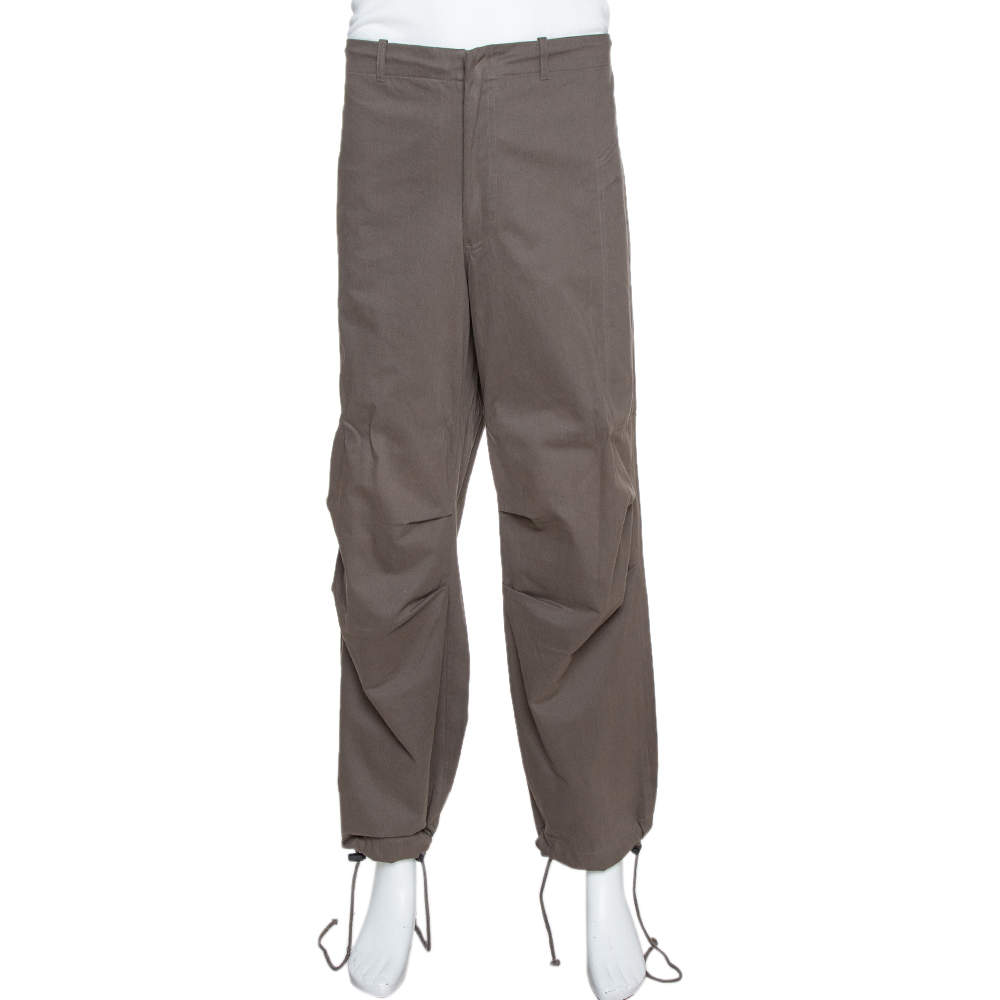 Emporio Armani Dark Grey Cotton Drawstring Waist & Cuff Trousers L