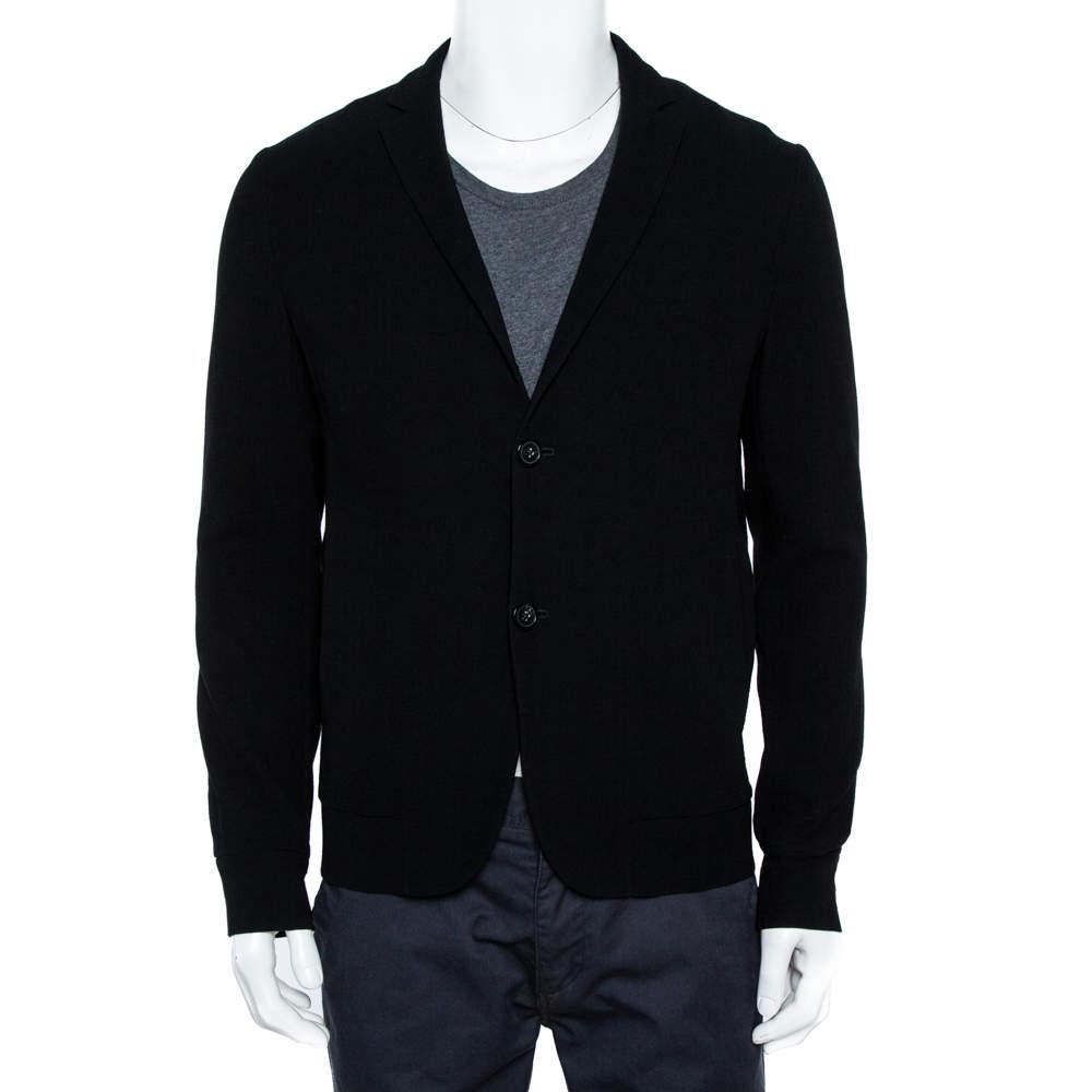 Emporio Armani Black Stretch Wool Two Button Blazer M